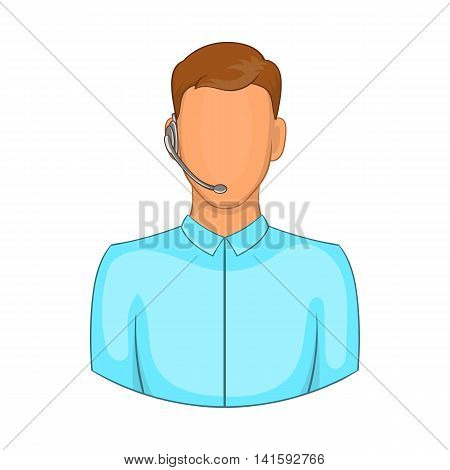 Customer service operator in headset icon in cartoon style on a white background