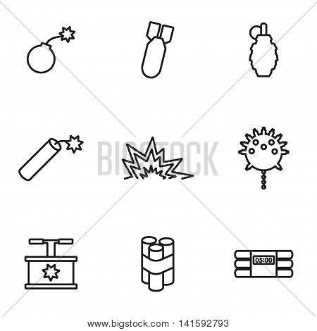 Vector line bomb icon set on white background