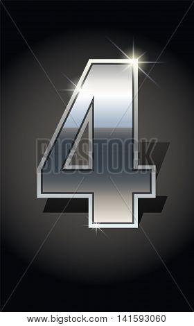 Silver number four on dark background isolated. Silver alphabet. Vector illustration number four Number four icon. Vector illustration stock vector.