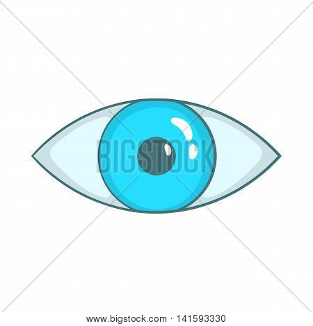 Blue eye icon in cartoon style on a white background
