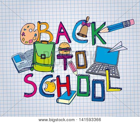 Hand Drawn school related image. Vector illustration. Blue pen painted drawing on a white exercise book sheet background. Back to school concept in sketchy style