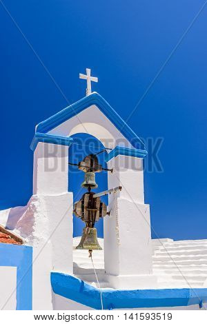 The Greek Church against the blue sky, Symi island, Dodecanese, Greece.