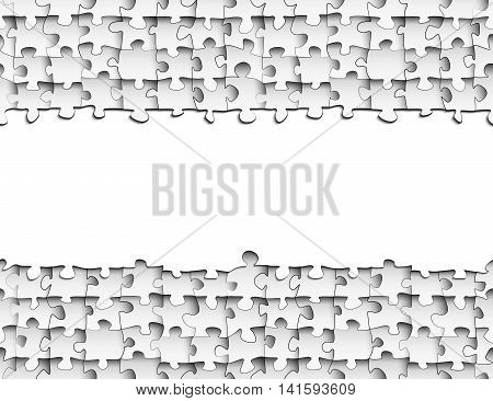 Horizontal strip of paper for your design on the background of seamless pattern of puzzle pieces, repeats the pattern of the puzzle