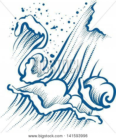 High sea wave with foam and spray. Illustration in vector format