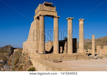 Ruins of ancient temple in Lindos, Rhodes island, Greece.