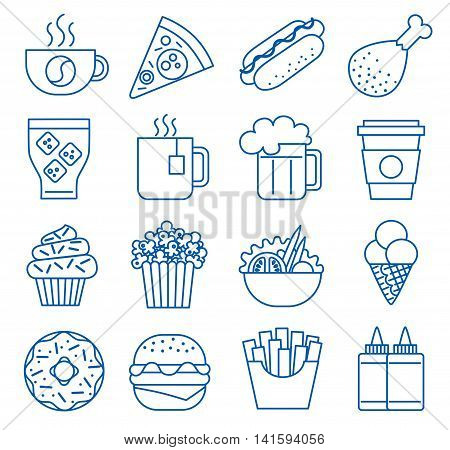 Fast food. Set of line icons. Vector illustration