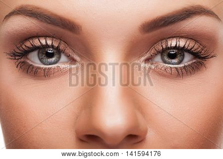 Close Up Eyes With Professional Make Up