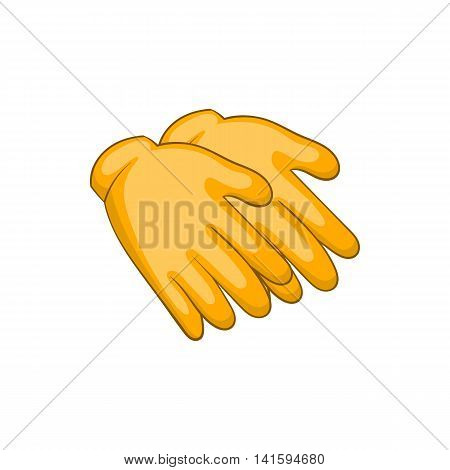 Yellow rubber gloves icon in cartoon style on a white background
