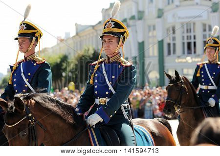 Orel Russia - August 05 2016: Orel city day. Horse guard in military uniform closeup