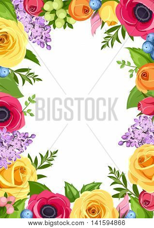 Vector background with red, pink, orange yellow and purple roses, anemones and lilac flowers and green leaves.