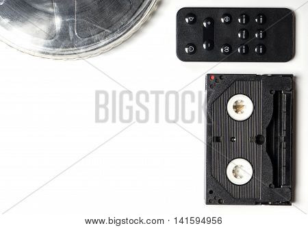 Vintage Movie media with remote controller white copy space