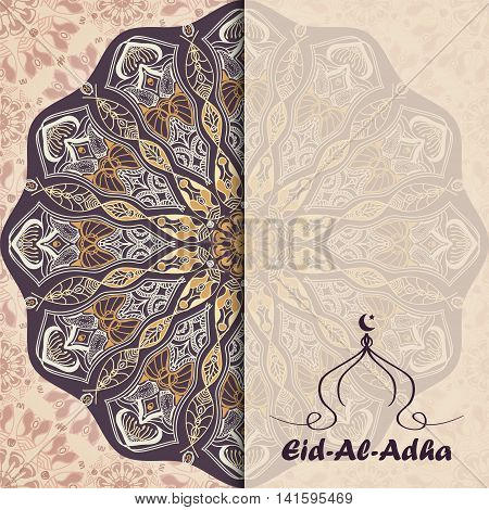 Vector greeting card to Feast of the Sacrifice (Eid-Al-Adha). Congratulation's background with text muslim symbols and mandalas patterns