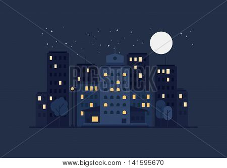 Night City Life Concept. Town street. Urban Landscape Banner with buildings trees shop stores sky and sun. Vector