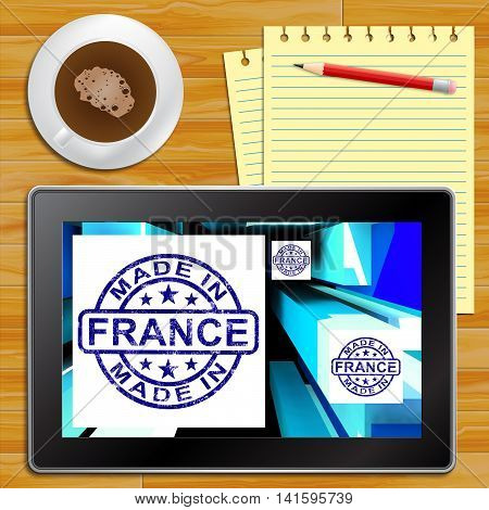 Made In France On Cubes Showing French Factories Tablet