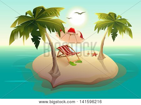 Tropical island in sea. Palm trees, sand, sun lounger and parasol. Illustration in vector format