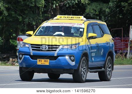 CHIANGMAI THAILAND -JULY 27 2016: City taxi Meter chiangmai Toyota Fortuner Service in city. On road no.1001 8 km from Chiangmai Business Area.
