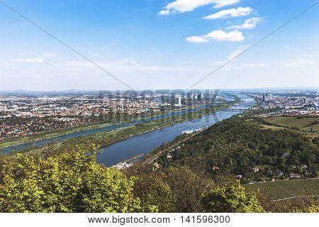 Beautiful Landscape Of Danube River - Vienna, Austria