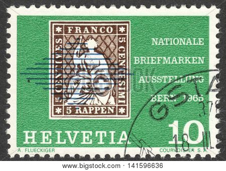 MOSCOW RUSSIA - CIRCA APRIL 2016: a post stamp printed in SWITZERLAND dedicated to Stamp exhibition NABRA circa 1965