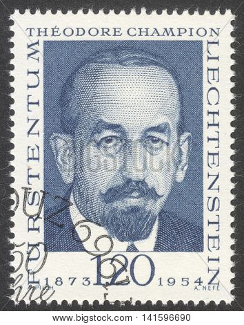 MOSCOW RUSSIA - CIRCA APRIL 2016: a post stamp printed in LIECHTENSTEIN shows a portrait of Theodore Champion the series