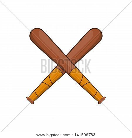 Crossed baseball bats icon in cartoon style on a white background