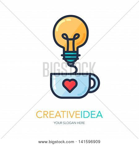 Simple Creative Success Idea Logo. Innovation symbol. Light bulb and cup. Design element for business startup technology science. Icon concept of invention study imagination and creativity. Vector