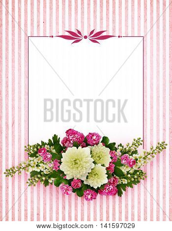 Asters bird-cherry tree flowers and hawthorn flowers arrangement on white and pink striped background
