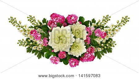 Asters bird-cherry tree flowers and hawthorn flowers arrangement isolated on white
