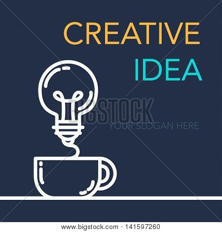 Simple Creative Success Idea Banner. Innovation symbol. Light bulb and cup. Design element for business startup technology science. Concept of invention study imagination and creativity. Vector