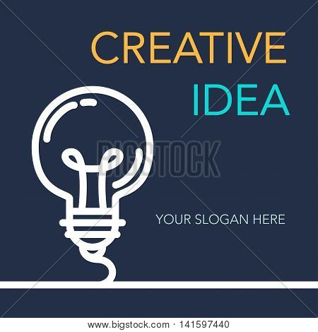 Simple Creative Success Idea Banner. Innovation symbol. Light bulb sign. Design element for business startup technology science. Concept of invention study imagination and creativity. Vector