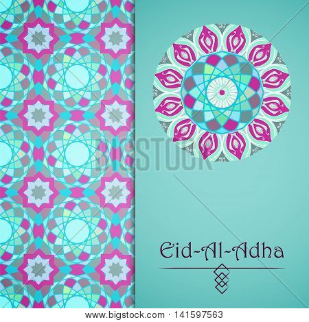 Vector greeting card to Feast of the Sacrifice (Eid-Al-Adha). Congratulation's background with text and mosaic mandalas patterns