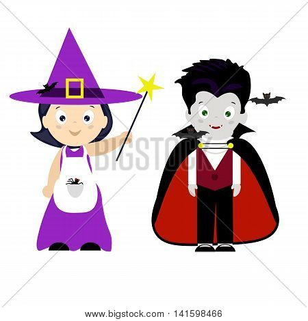 Halloween , children in costumes, little witch, magic wand, vampire, bat, holiday, card, vector illustration