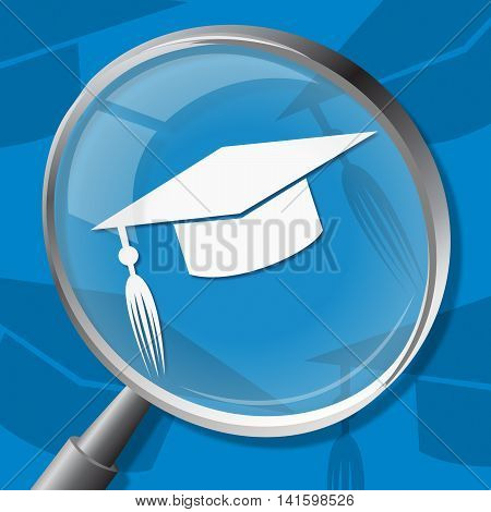 Mortarboard Magnifier Shows Magnifying Hat And Bachelor