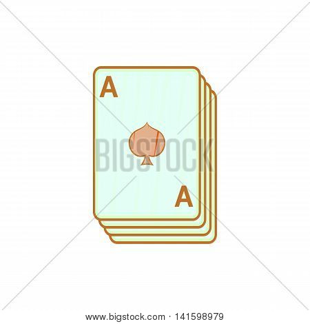 Ace of spades, playing cards icon in cartoon style on a white background