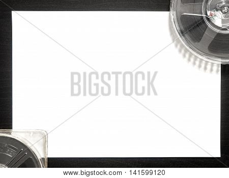 Movie film with blank paper for Movie title and credit