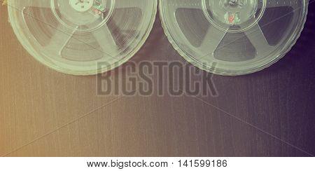 Film Reels vintage background with copy space
