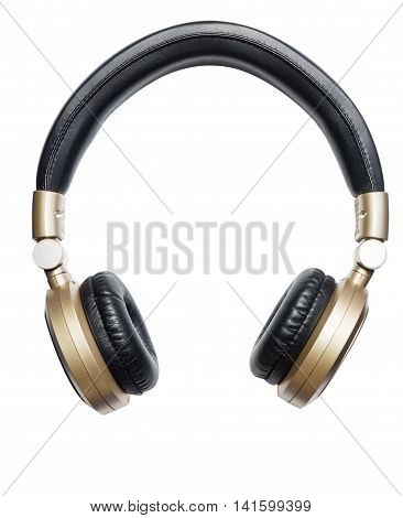 Golden Wireless Audio Hifi headphone isolated on white
