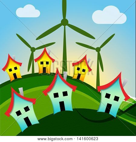 Wind Turbine Houses Shows Housing Conservation And Power