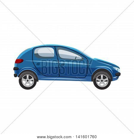 Blue hatchback car icon in cartoon style on a white background