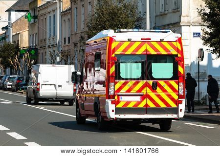 Sables d'Olonnes France - March 20 2016 : a french firemen ambulance intervention in a road accident