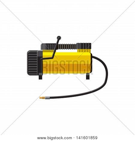 Car air compressor icon in cartoon style on a white background