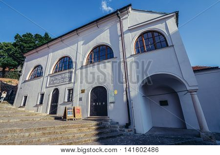 Mikulov Czech Republic - May 17 2015. Old Synagogue in small Mikulov city in South Moravian Region