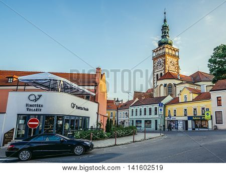 Mikulov Czech Republic - May 17 2015. Bell tower of St Wenceslas Church in small Mikulov city in South Moravian Region