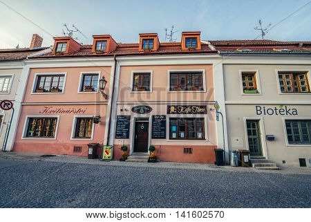 Mikulov Czech Republic - May 17 2015. Tenement houses in small Mikulov city in South Moravian Region
