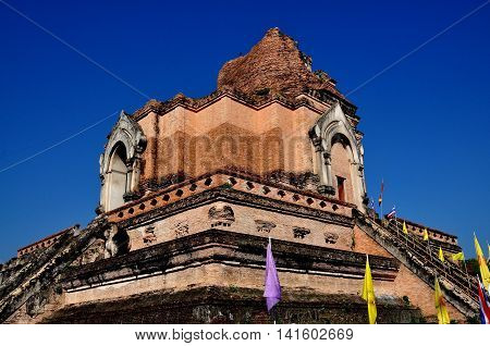 Chiang Mai Thaland - December 19 2012: 1401 Wat Chedi Luang brick chedi ruins. partially destroyed in a 1545 earthquake