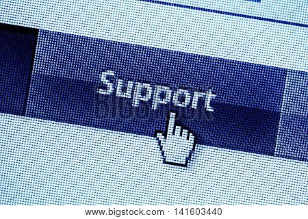 Computer Monitor screen concept of online support