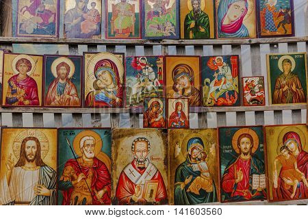 Pictures Of Mother Mary And Saints - Sofia, Bulgaria.