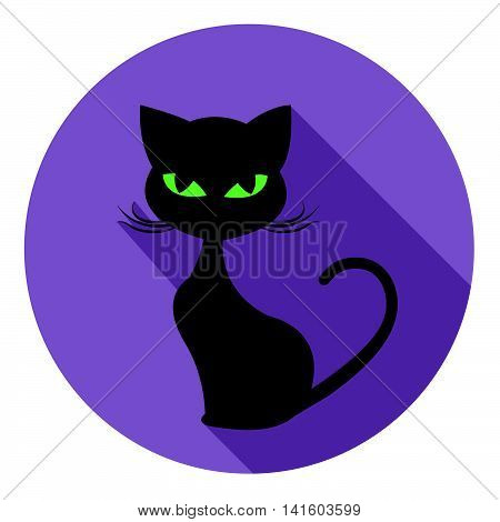 Halloween Cat Icon Means Trick Or Treat And Autumn