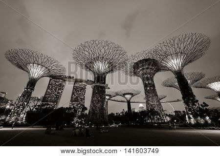 SINGAPORE - APR 5: Garden by the Bay super tree on April 5, 2013 in Singapore. It is part of a government strategy aimed to raise the quality of life by enhancing greenery and flora in Singapore.