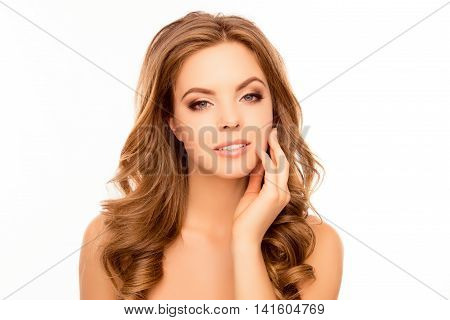 Portrait Of Beautiful Woman Touching Face After Plastic