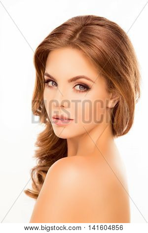 Attractive Sensitive Woman Showing Perfect Skin On Shoulder